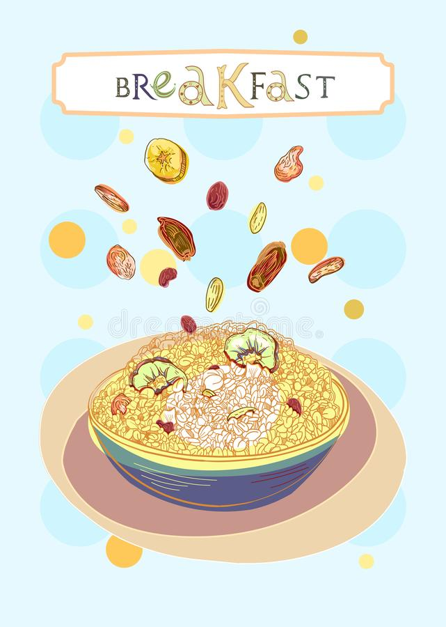Breakfast cover. With oatmeal and dehydrated fruits in engraved style. Fully editable vector illustration. Figured table with breakfast lettering stock illustration