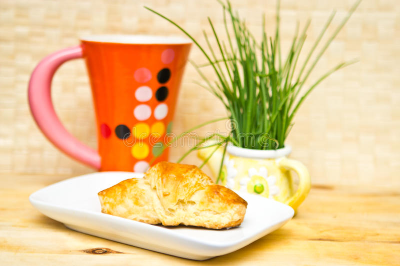 Download Breakfast croissant stock image. Image of croissant, greens - 23666985