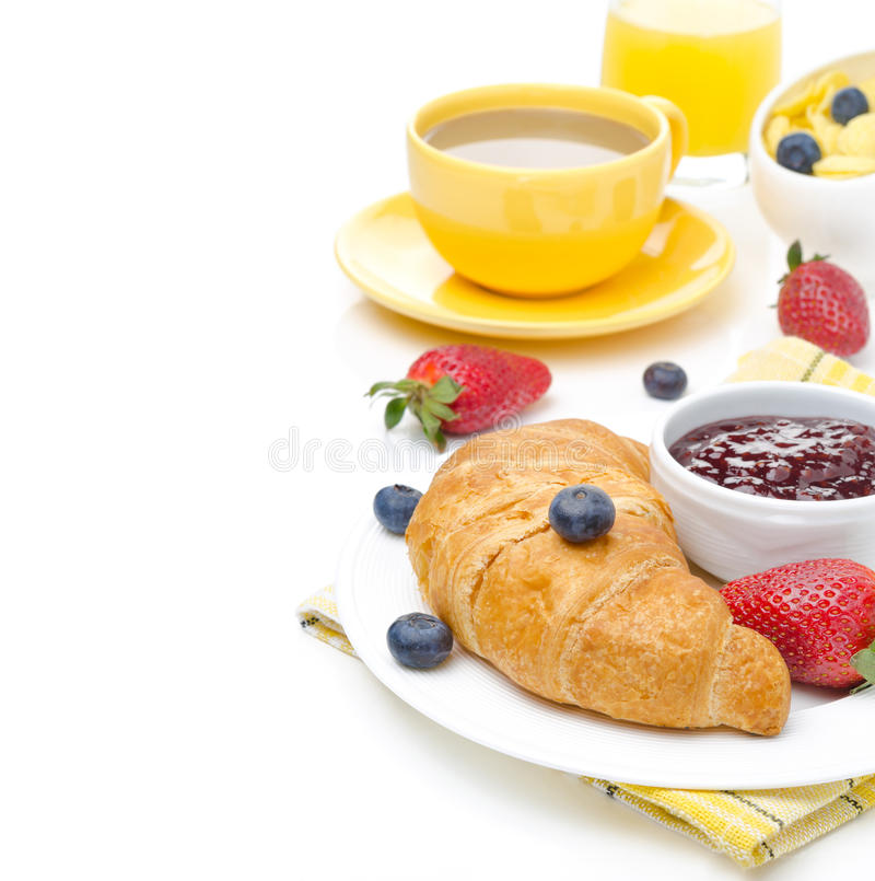 Breakfast With Croissant, Jam, Fresh Berries And Coffee ...