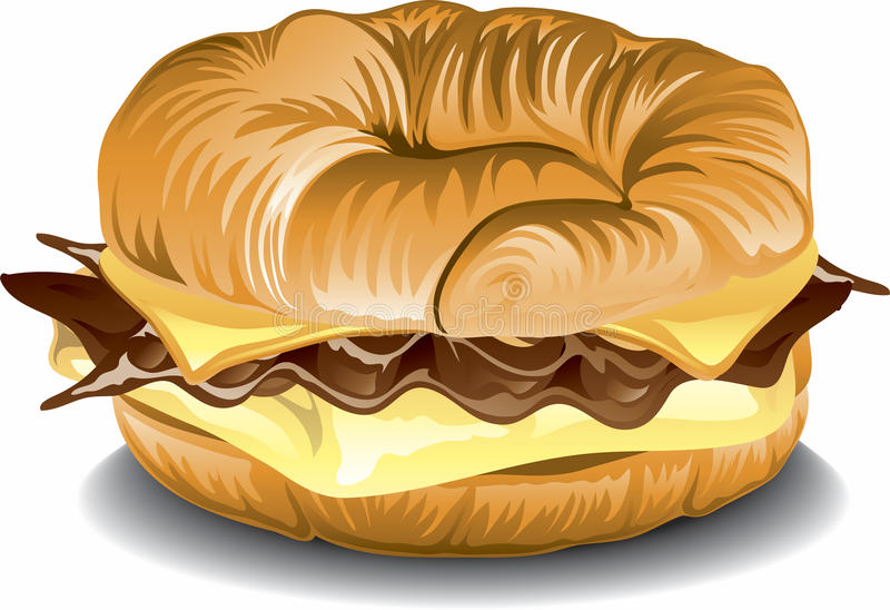 breakfast croissant sandwich stock illustration illustration of rh dreamstime com Bite the Bagel Clip Art Bagel Cartoon Clip Art