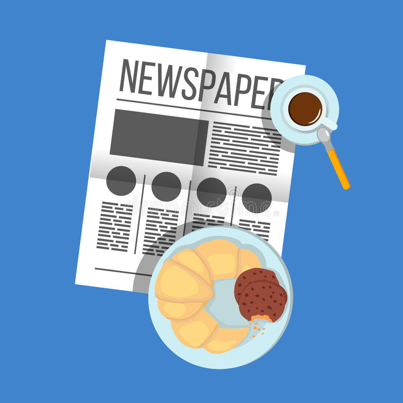 Free Breakfast Croissant With Biscuits With Coffee Top View. Newspaper On Table With Food Illustration. Morning Breakfast Food And Stock Photos - 67325483