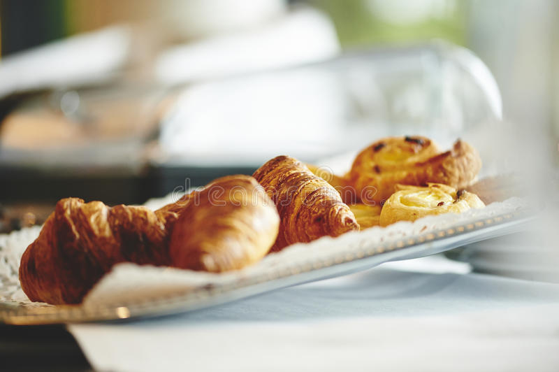 Breakfast croissants. Fresh croissants served at a breakfast buffet in a hotel royalty free stock photo