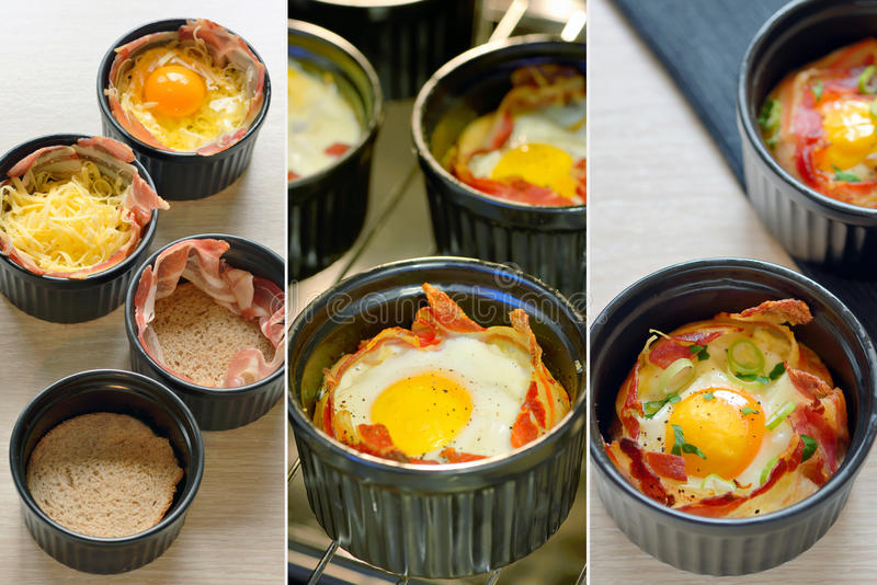 Breakfast cups egg with bacon royalty free stock image