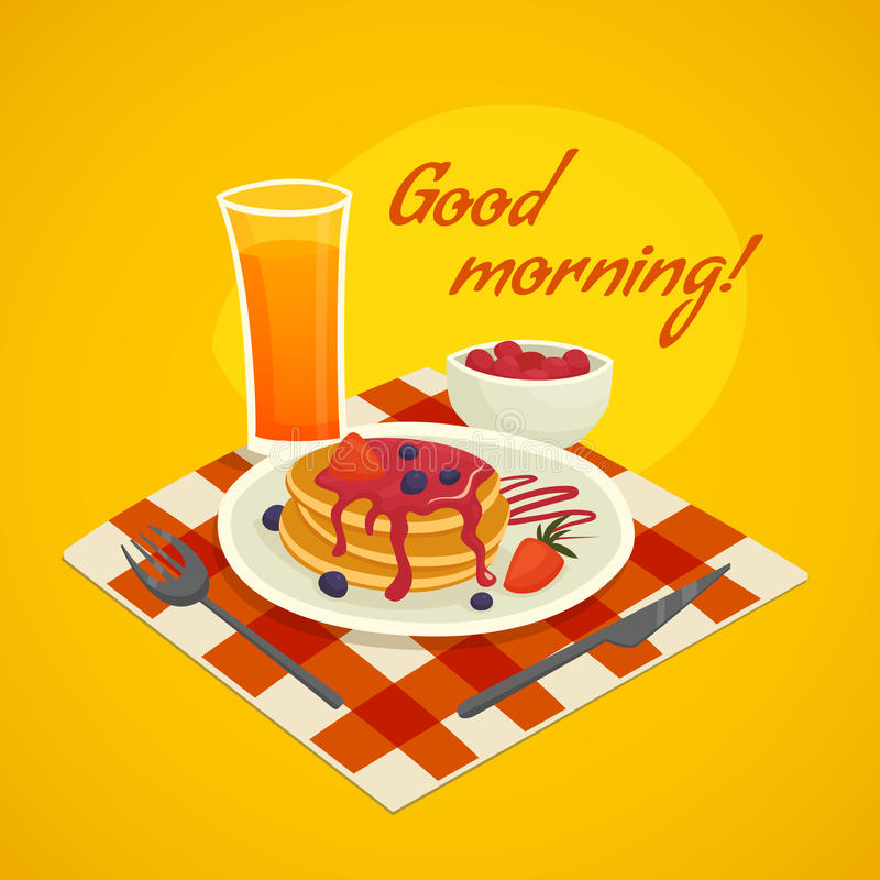 Breakfast Design Concept With Good Morning Wishing royalty free illustration