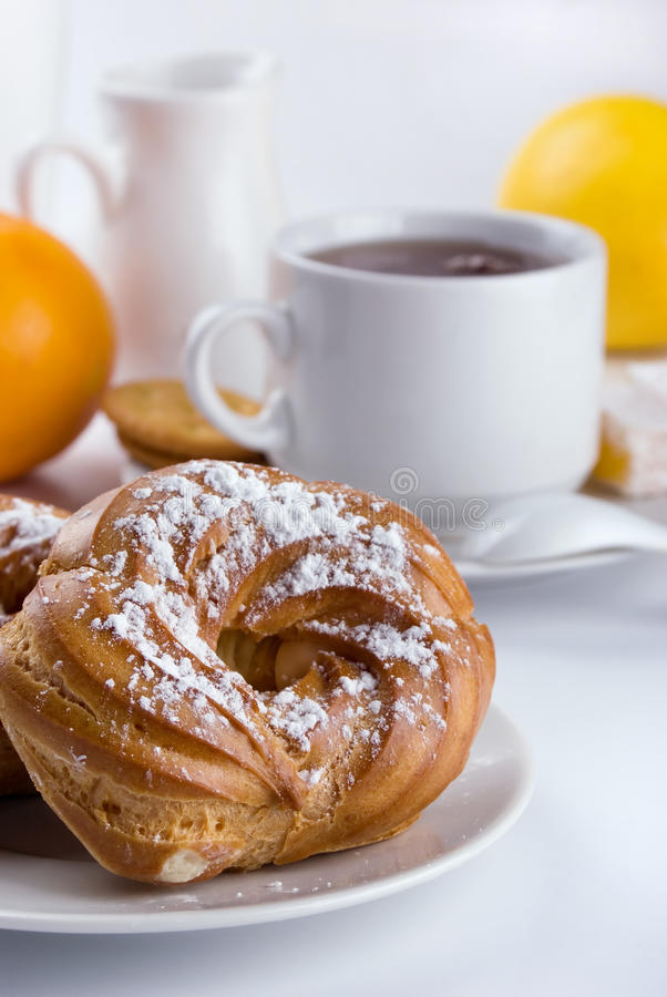 Breakfast with donuts royalty free stock photography
