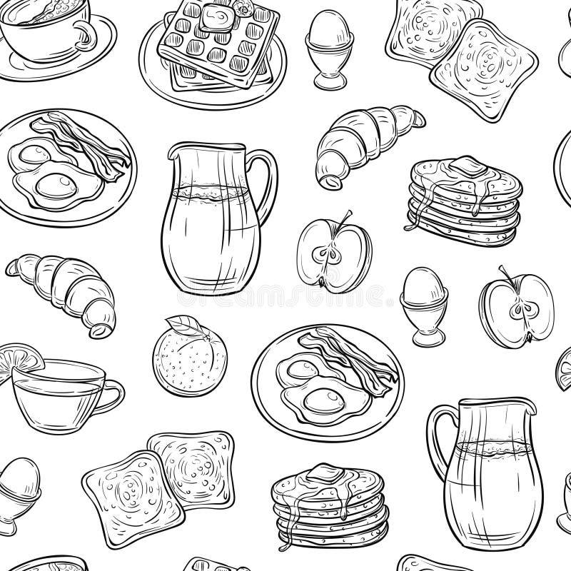 Breakfast doodle pattern. Pancakes jam cheese yogurt sausage tea bread and eggs sketch seamless vector texture vector illustration