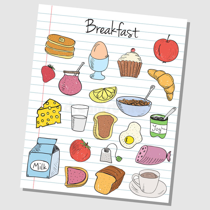 Breakfast doodles - lined paper royalty free illustration