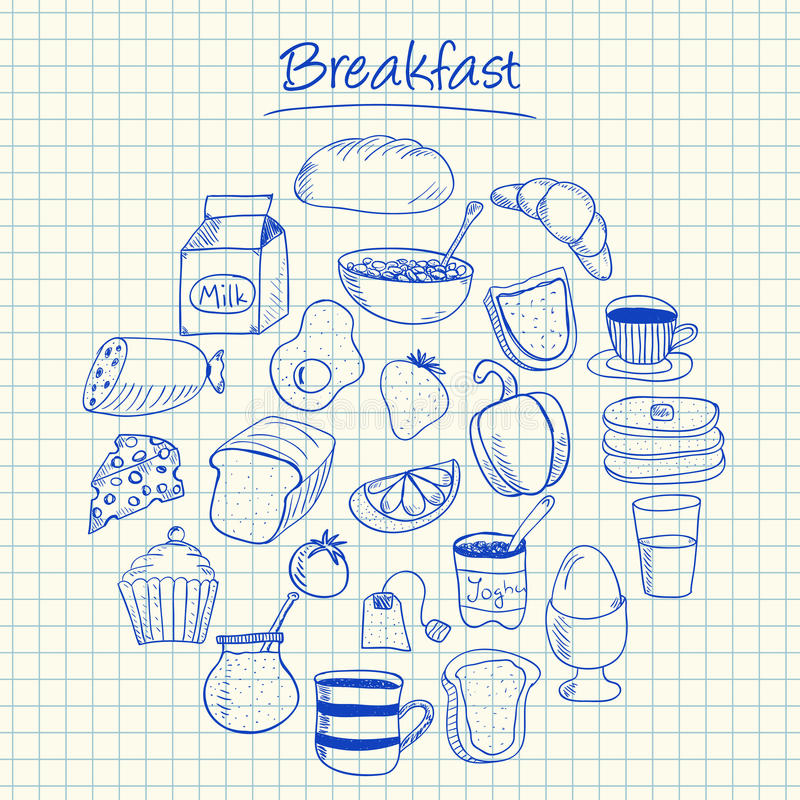 Breakfast doodles - squared paper stock photography