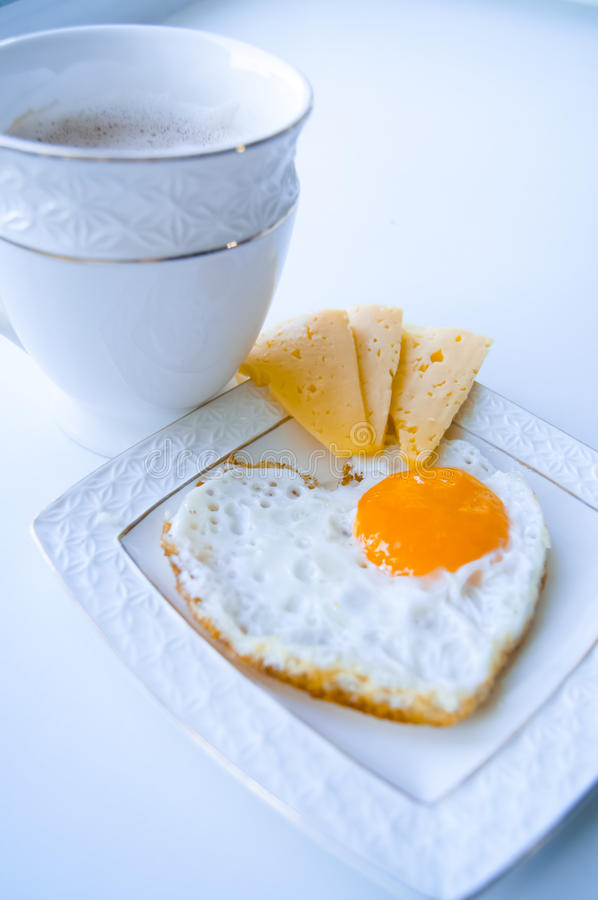 Breakfast from egg and coffee royalty free stock images