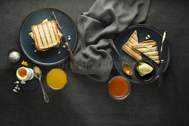 Breakfast with egg and sandwich royalty free stock photos
