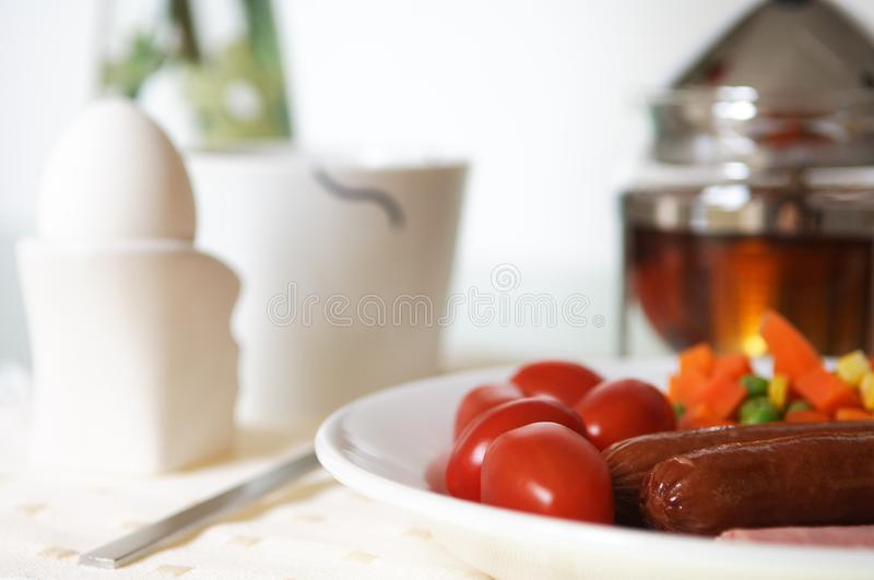 Breakfast with eggs stock images