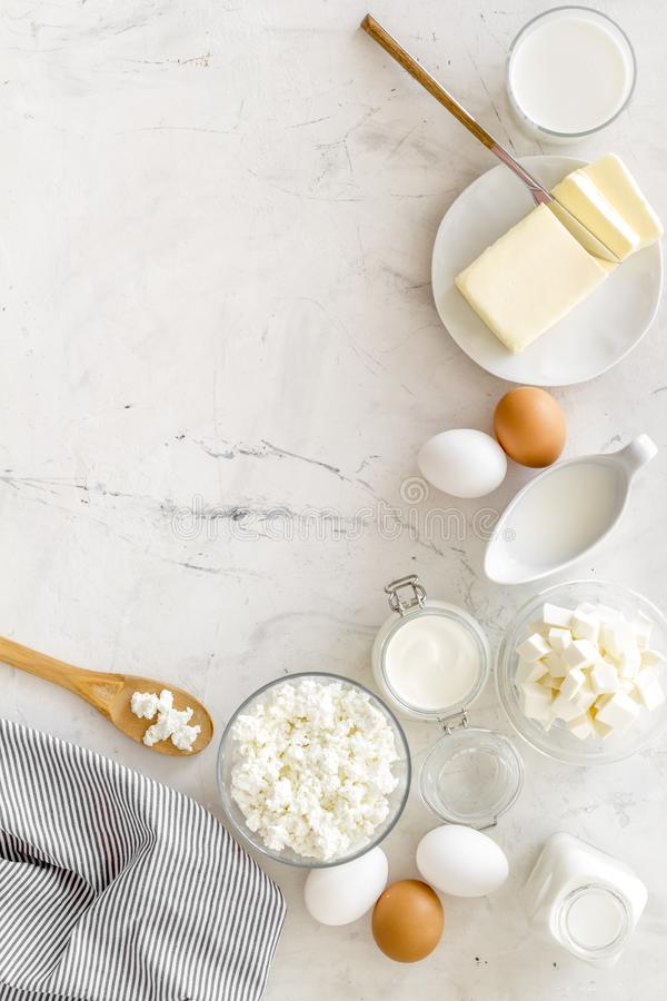 Breakfast on farm with dairy products on marble background top view space for text royalty free stock photos