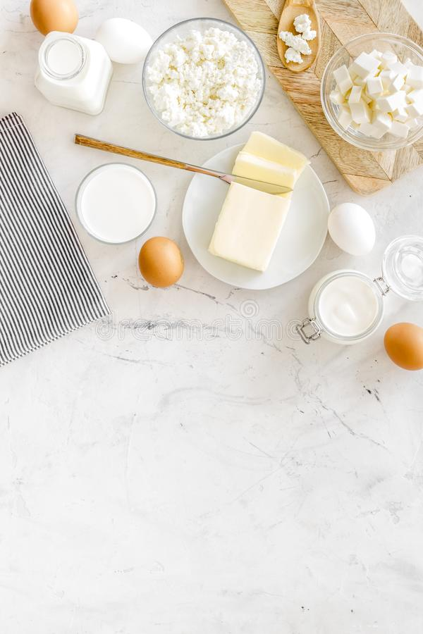 Breakfast on farm with dairy products on marble background top view space for text stock photo