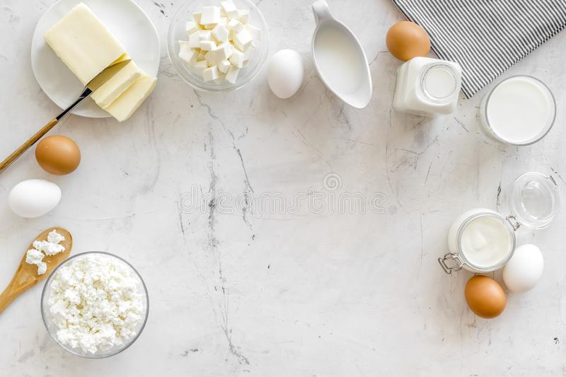Breakfast on farm with dairy products on marble background top view space for text stock photos