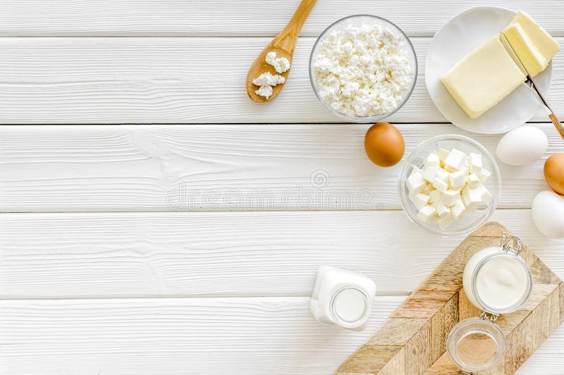 Breakfast on farm with dairy products on white wooden background top view space for text stock photo