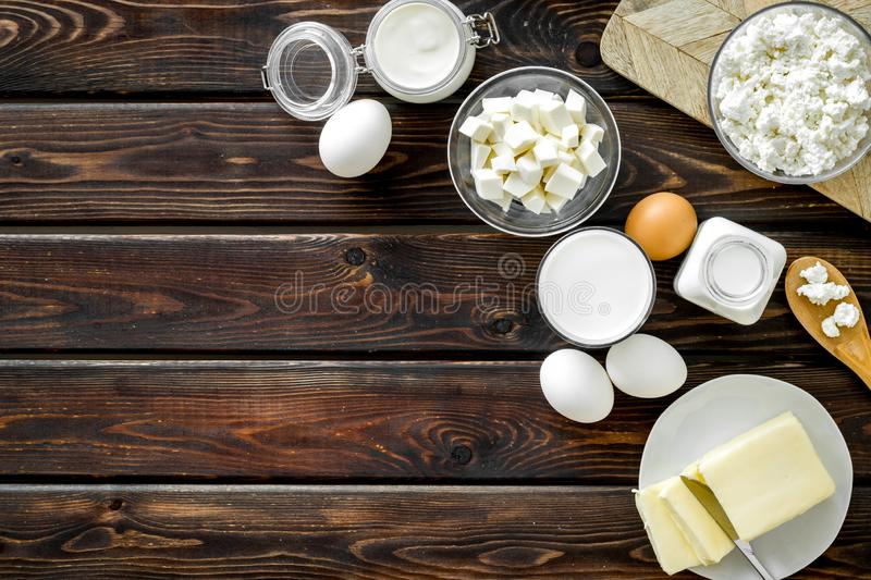Breakfast on farm with dairy products on wooden background top view space for text royalty free stock photo