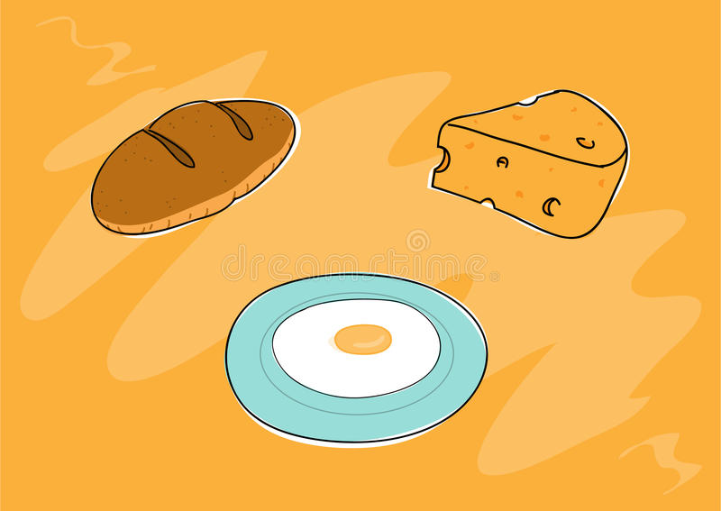 Breakfast Food. A hand drawn vector illustration of breakfast food, every objects are on their own separate groups (including background) for easy editing royalty free illustration