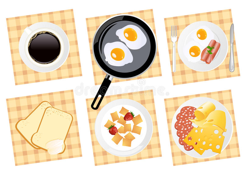 Download Breakfast Food Set On Isolated Background Stock Vector - Illustration: 13305552