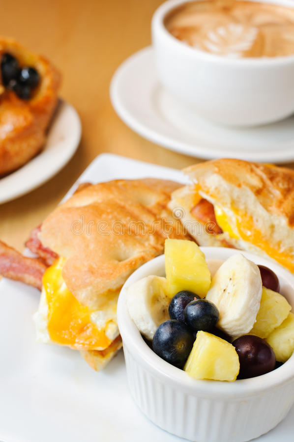 Breakfast Food. A setup of breakfast food and coffee royalty free stock image