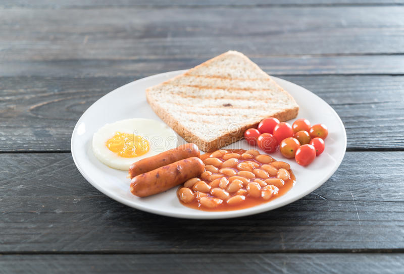 Breakfast food. On wood background royalty free stock images