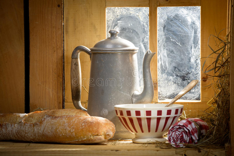 Breakfast in the French countryside royalty free stock photography