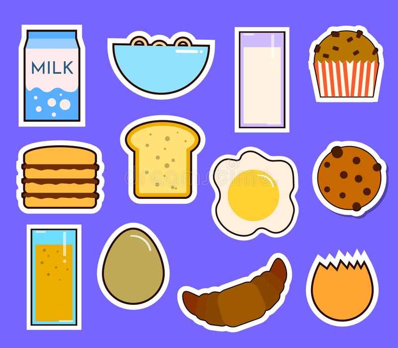 Breakfast fresh food and drinks flat icons set with coffee donut fruit juice tea cup isolated vector illustration stock illustration