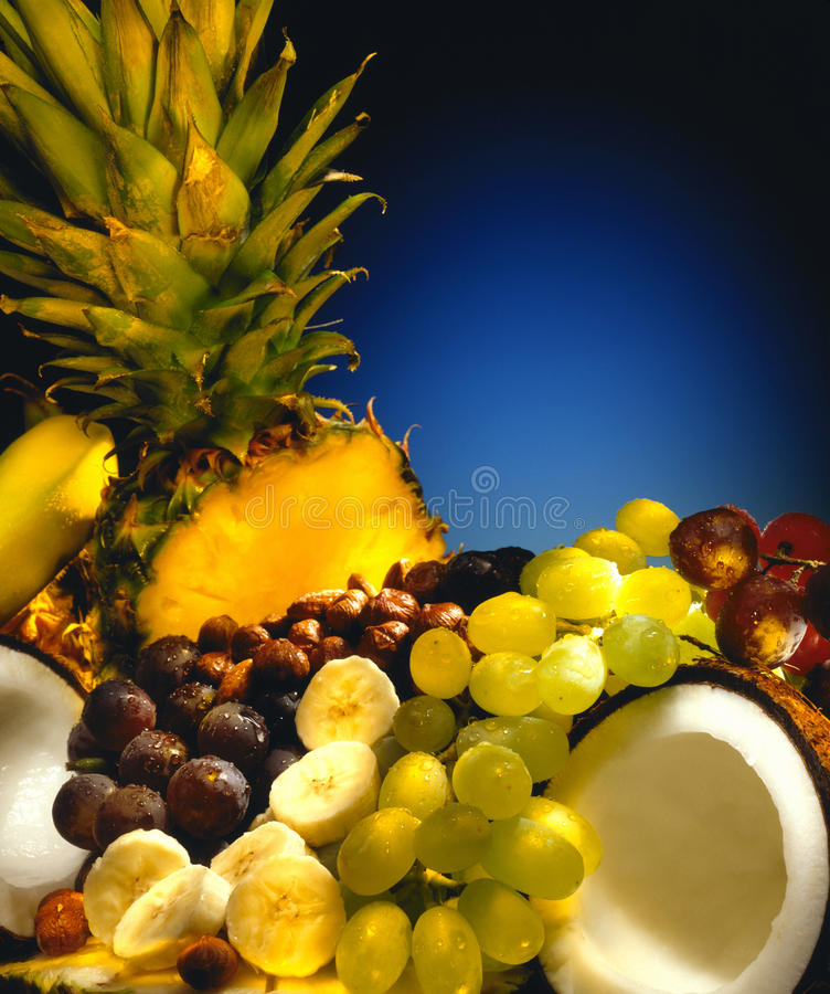 Breakfast Fruit and Nuts - Space for Text stock photo