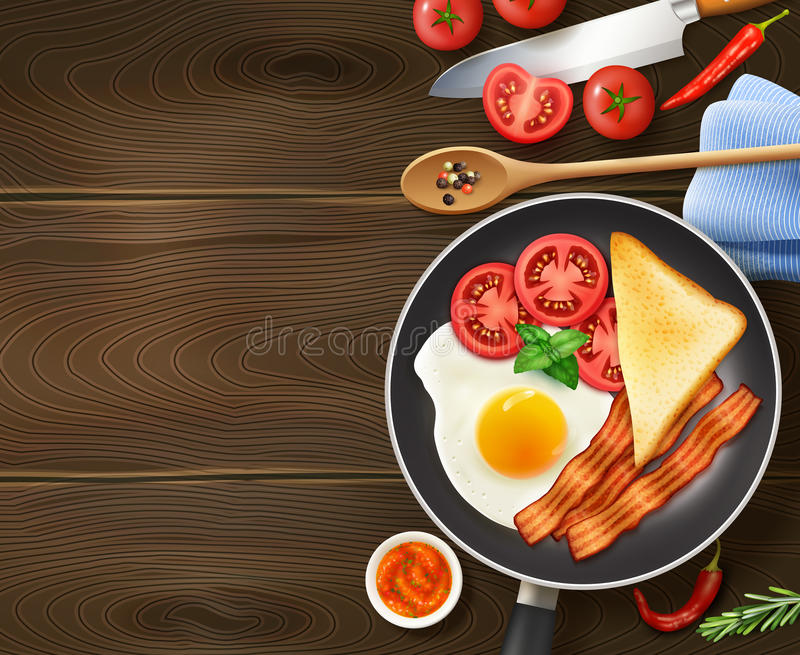 Breakfast In Frying Pan Top View. Breakfast in frying pan appetizing realistic top view image of egg bacon tomatoes dark wood background vector illustration stock illustration