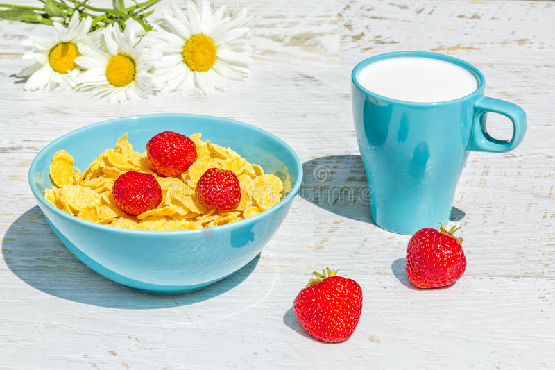 Breakfast in the garden with corn flakes and strawberries stock photos