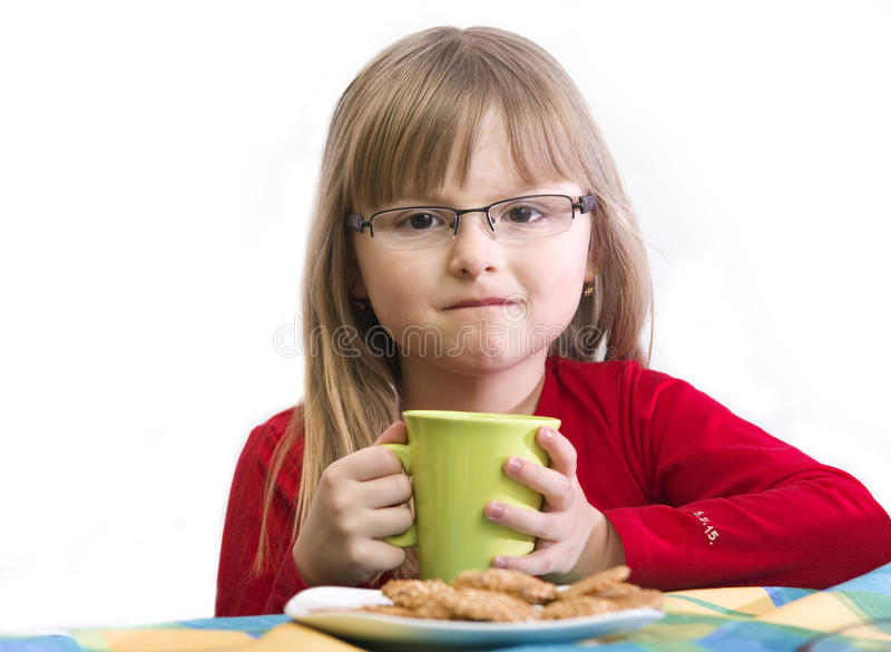 Download Breakfast girl stock photo. Image of drinks, sits, child - 9485258