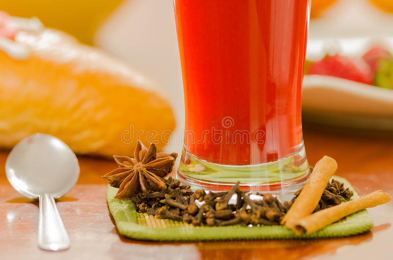 Breakfast And Glass Of Red Juice On Wooden Table Stock Photo