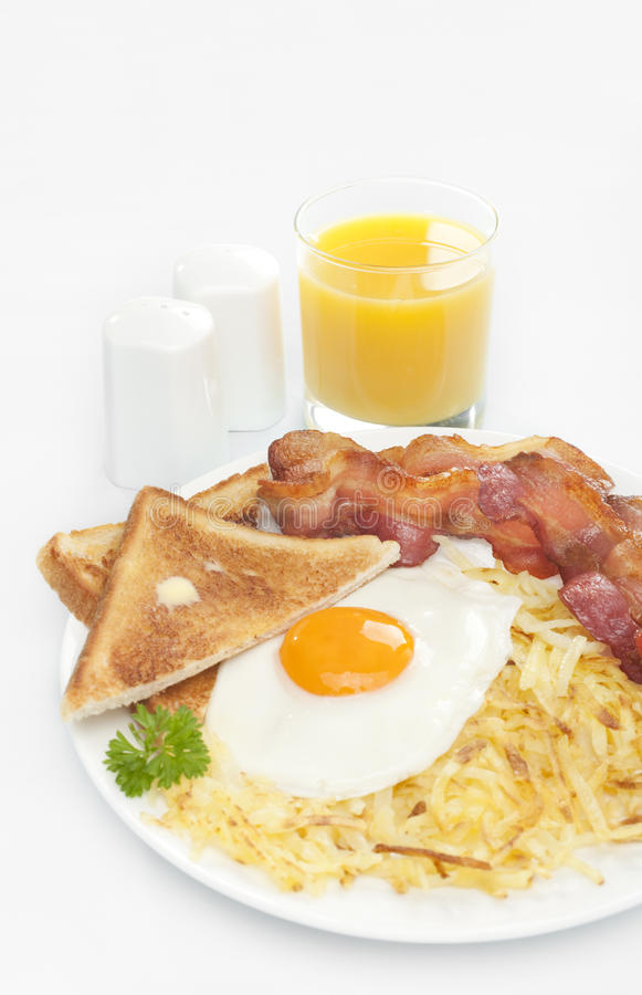 Breakfast Hash Browns Bacon Fried Egg Toast Royalty Free Stock Images
