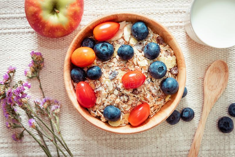 Breakfast Healthy Nature Vegetarian Food With Milk, Granola, Muesli and Natural Fresh Fruit on The Table., Granola With Yogurt for royalty free stock image