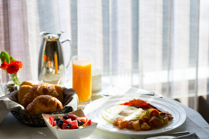 Breakfast at hotel royalty free stock image