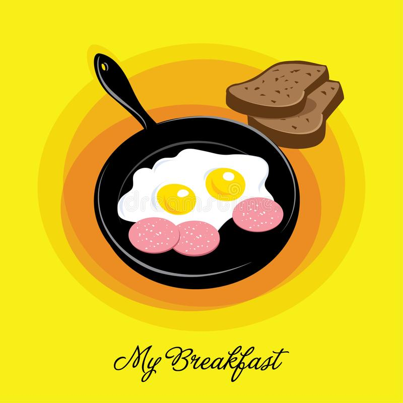 Breakfast icon. Cartoon illustration. Flat design. Form recipes. Fried eggs in a frying pan with sausage. Breakfast icon. Cartoon illustration. Flat design royalty free illustration