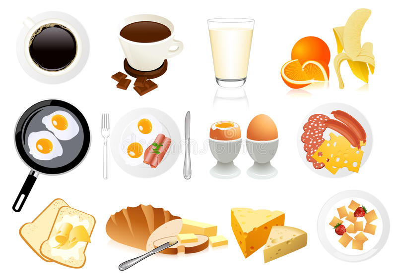 Download Breakfast icons stock vector. Illustration of fruit, coffee - 13200959