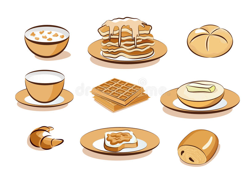 Download Breakfast icons stock photo. Image of croissant, waffles - 16501940