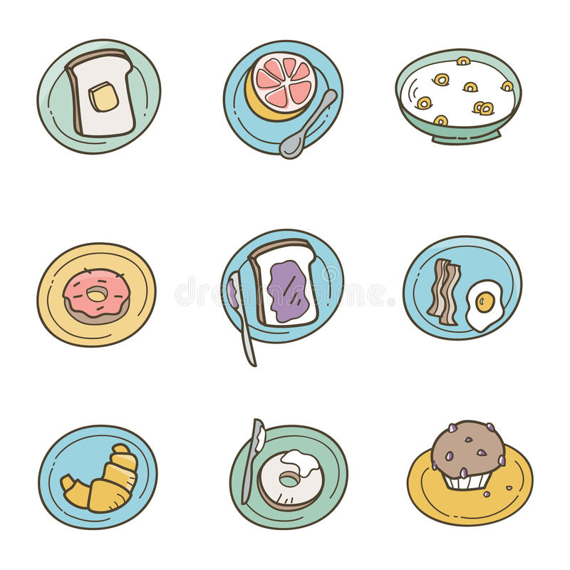 Download Breakfast Icons stock vector. Image of drawing, toast - 20245274