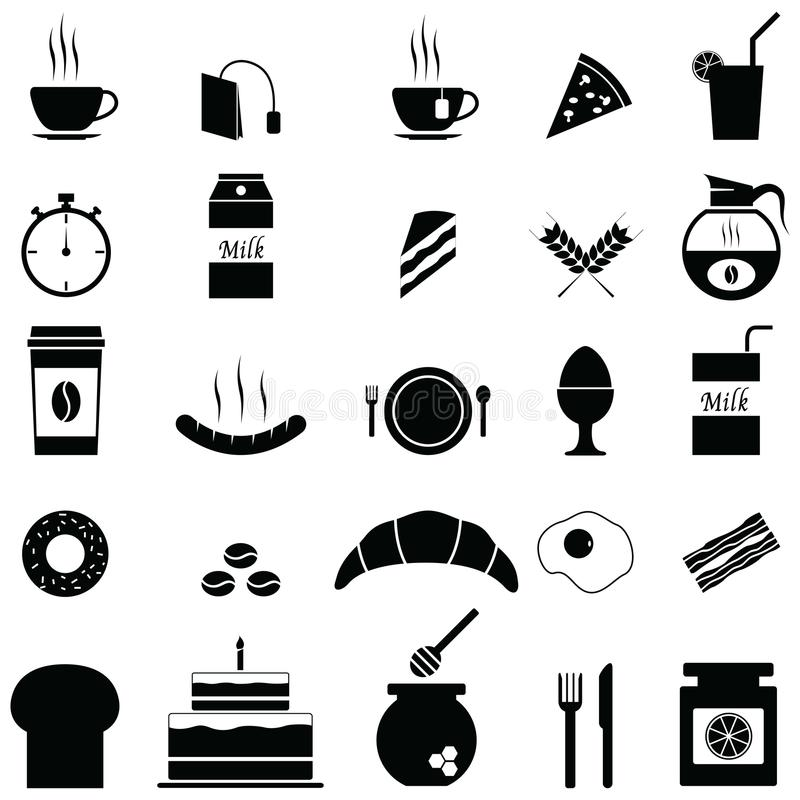Breakfast icons set vector illustration