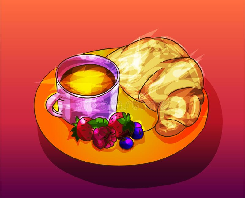 Breakfast illustration with croissant, coffee, fruits on a plate-. Background, glass, organis, fruits, health, lifestyle, sw vector illustration