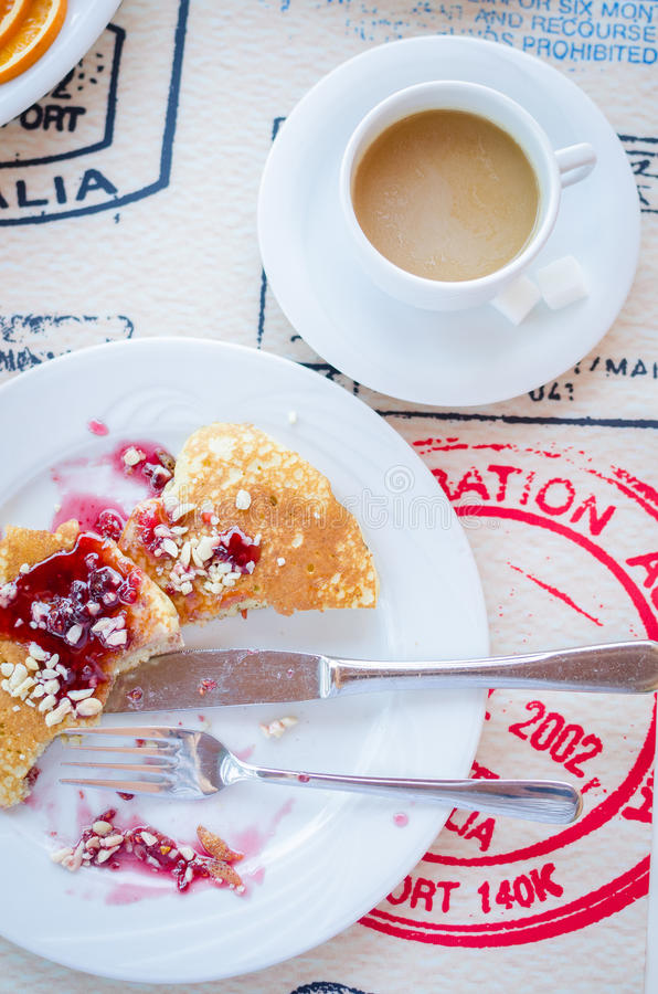 Download Breakfast Including Pancakes With Raspberry Jam Stock Photo - Image: 83717863