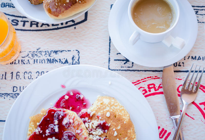 Download Breakfast Including Pancakes With Raspberry Jam Stock Photo - Image: 83717590