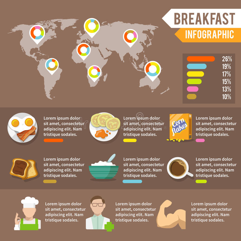 Breakfast infographic set stock vector illustration of document breakfast fresh food and drinks infographic set with cook doctor athlete and world map vector illustration gumiabroncs Image collections