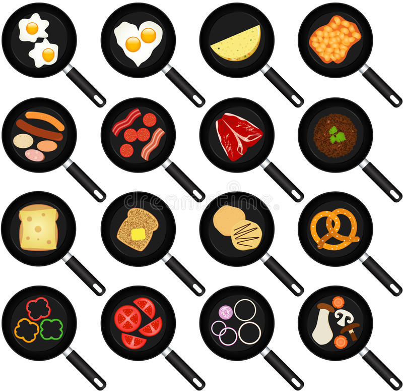 Breakfast Ingredients in Non-stick Frying Pans stock illustration