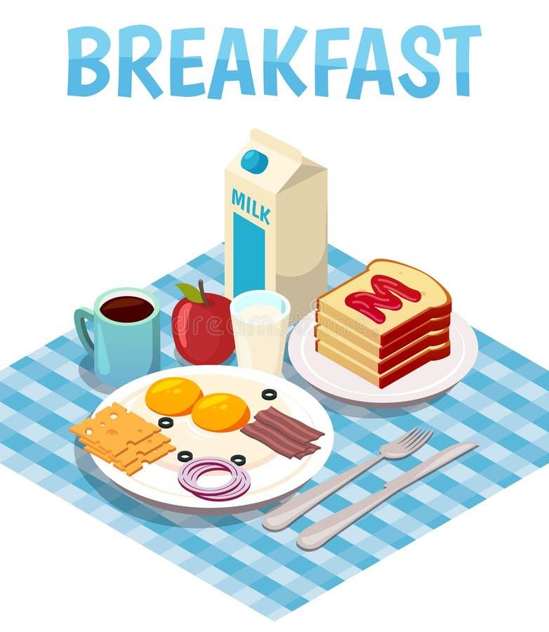 Breakfast Isometric Composition stock illustration