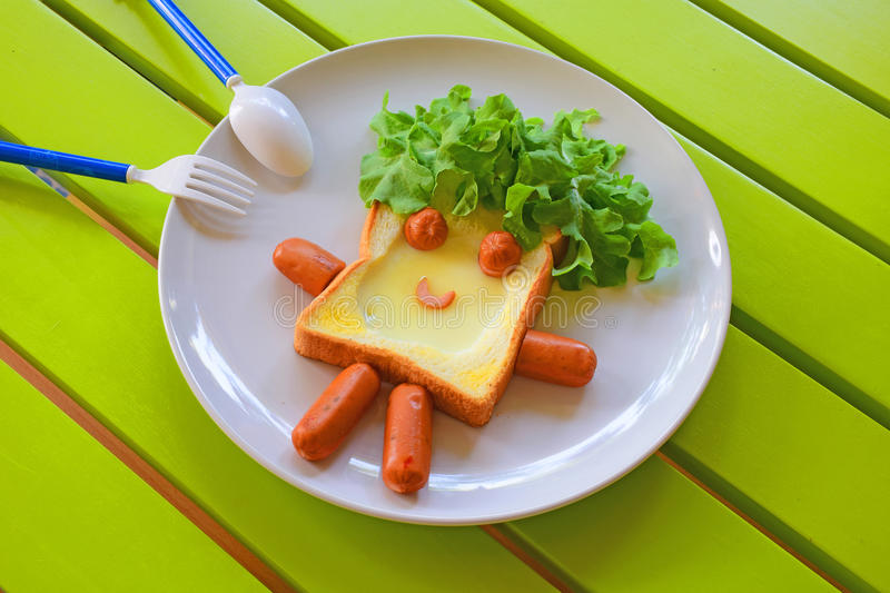 Breakfast for kids. In cute design stock images