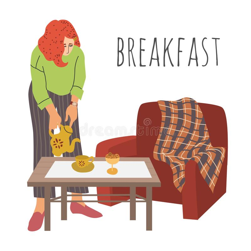 Breakfast. The lady pours tea into cup. The girl sets the table in a comfortable room. Interior with a coffee table and royalty free illustration