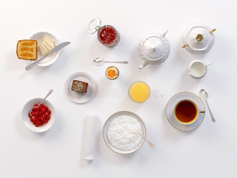 Breakfast with tea, toasts, butter, juice, jam, egg and rice porridge on white. 3D illustration royalty free illustration