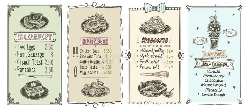 Breakfast, lunch, desserts and ice cream menu list set. Breakfast, lunch, desserts and ice cream menu list designs set, vintage style vector hand drawn graphic vector illustration