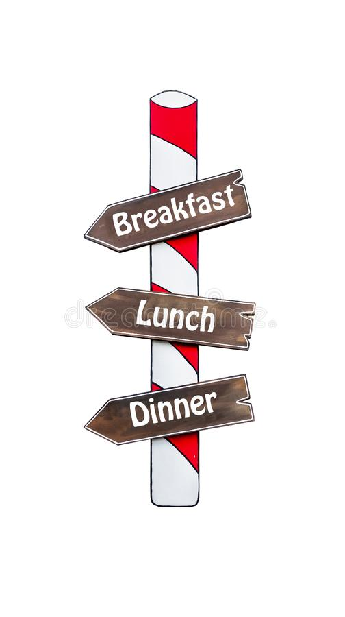 Breakfast, lunch and dinner arrow road sign pointing isolated royalty free stock images